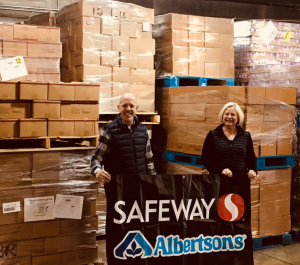 Safeway and Albertsons donation at the Nourish warehouse
