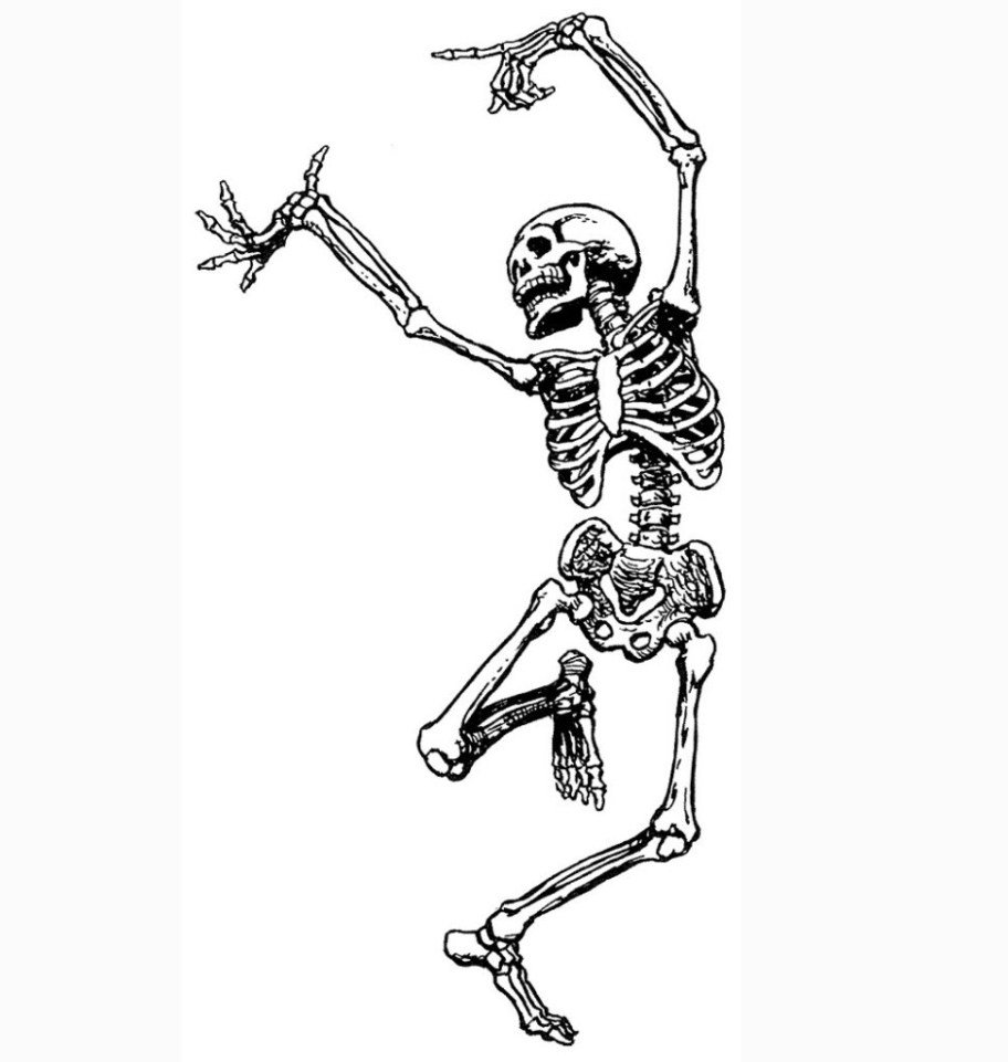 Dancing skeleton for Food Fright Virtual Fundraiser